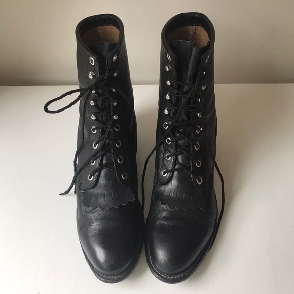 8ab014655d41b Vintage Justin Lace Up Roper Black Combat Boots 8
